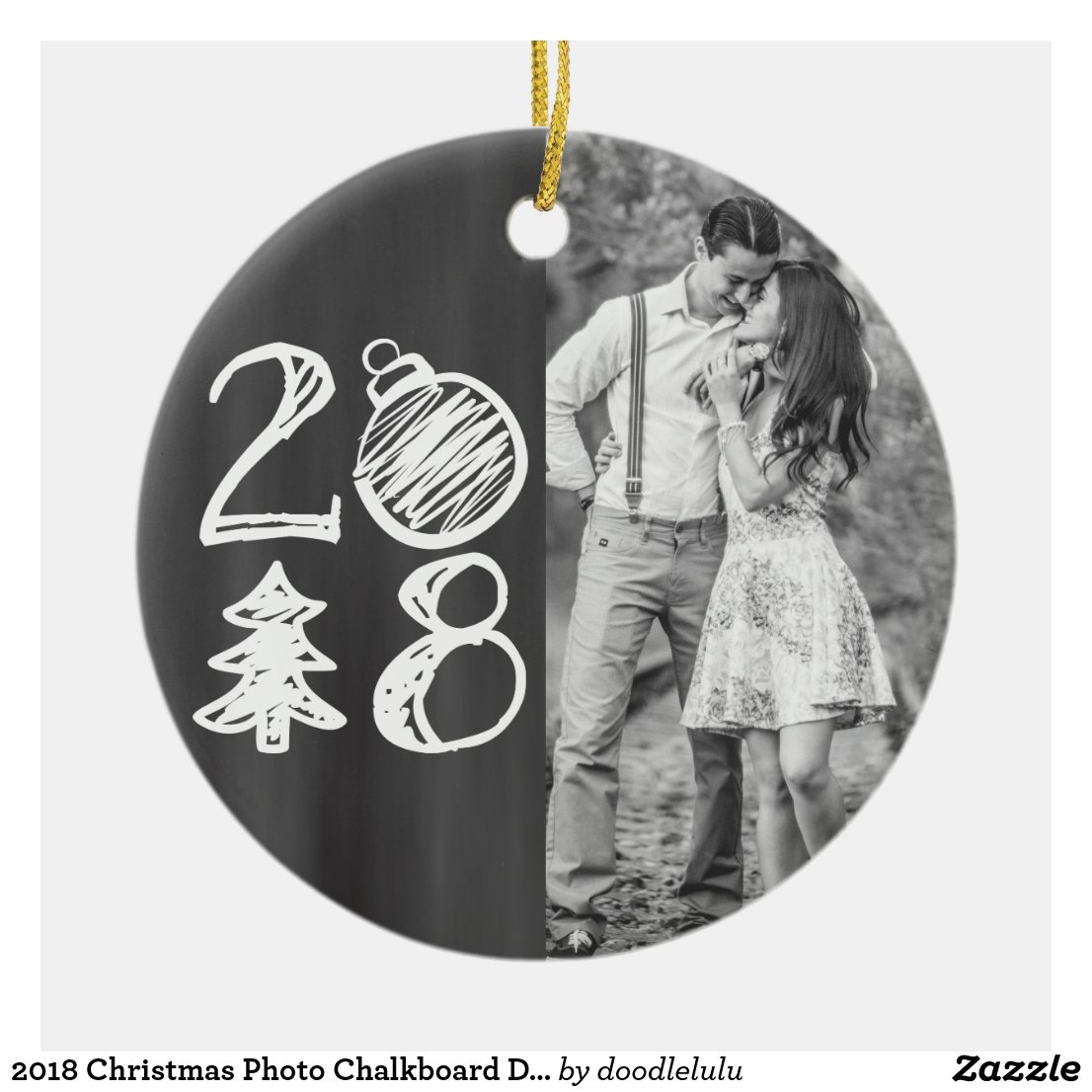 2018 Christmas Photo Chalkboard Doodle Ceramic Ornament