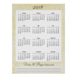 2018 Cream colored Calendar Poster