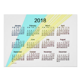 2018 Cyan Yellow Calendar by Janz Poster