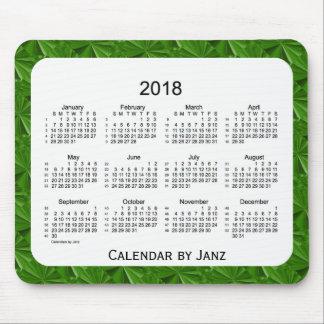 2018 Dark Green Diamonds 52 Weeks Calendar by Janz Mouse Pad
