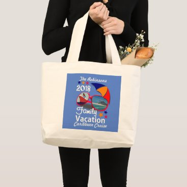 Beach Themed 2018 Family Vacation  Cruise Graphic Personalized Large Tote Bag