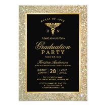 2018 Gold Medical Nursing School Graduation Party Card