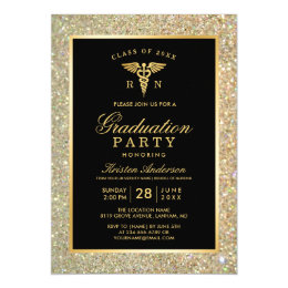 Nursing graduation invitations announcements zazzle 2018 gold medical nursing school graduation party card filmwisefo Images
