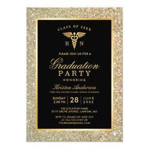 Graduate school invitations announcements zazzle 2018 gold medical nursing school graduation party card filmwisefo