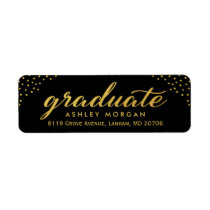 2018 Graduate Script Gold Dots Graduation Label