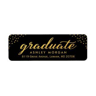 2018 Graduate Script Gold Dots Graduation Label