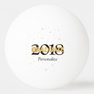 2018 Graduate Typography with Gold Stars Fireworks Ping-Pong Ball