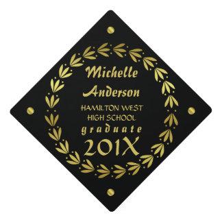 2018 Graduation | Black Gold Laurel Wreath Custom Graduation Cap Topper