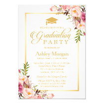 2018 Graduation Party Chic Floral Golden Frame Card