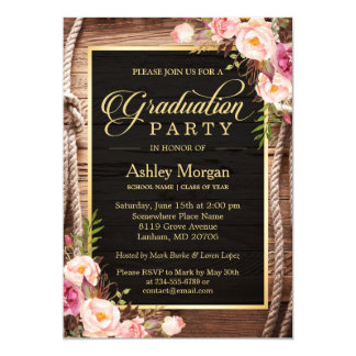 2018 Graduation Party Floral Rustic Country Wooden Card