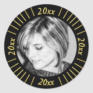 2018 Graduation Party Photo Black Gold Mod Stripes Classic Round Sticker