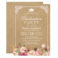 2018 Graduation Party | Rustic Floral Frame Kraft Card