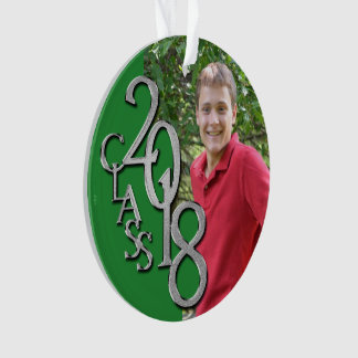 2018 Graduation Photo Green and Silver Ornament