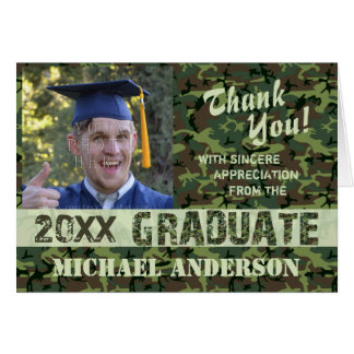 2018 Graduation Thank You Camouflage Photo Custom Card