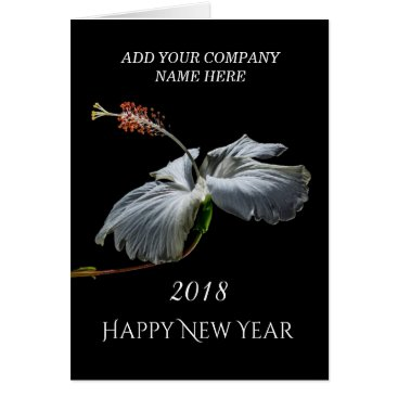 Professional Business 2018 Happy New Year - White Hibiscus Flower Card