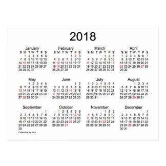 2018 Mini Calendar by Janz with Holidays Postcard