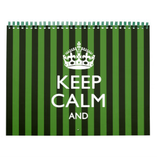 2018 Monthly Personalize KEEP CALM Green Your Text Calendar