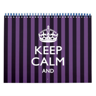 2018 Monthly Purple Stripe KEEP CALM AND Your Text Calendar