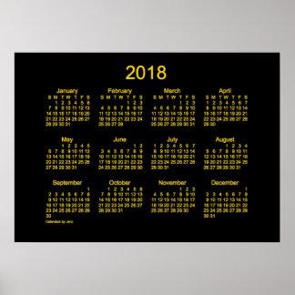 2018 Neon Gold Wall Calendar by Janz Poster