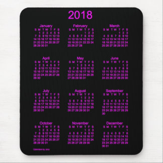 2018 Neon Pink Calendar by Janz Mouse Pad