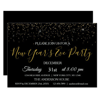 2018 New Year's Eve Party Glitter Sparkle Invite