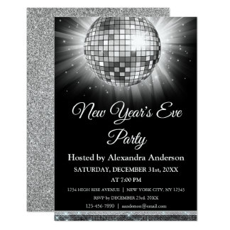 2018 New Year's Eve Party Silver Disco Ball Card