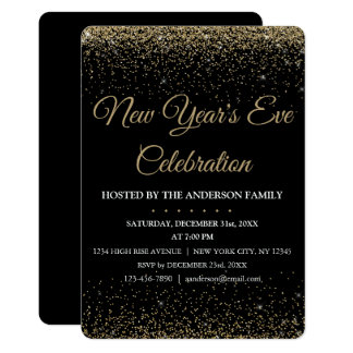 2018 New Year's Eve Party Sparkle Glitter Card