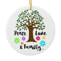 2018 Peace Love Family Tree Reunion Christmas Gift Ceramic Ornament