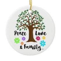 2018 Peace Love Family Tree Reunion Christmas Gift Ceramic Ornament