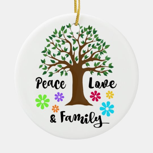 Peace Christmas Ornament.2018 Peace Love Family Tree Reunion Christmas Gift Ceramic Ornament