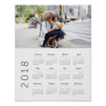 2018 Photo Calendar Poster<br><div class='desc'>Modern 2018 calendar poster that can be personalized with a photo.</div>