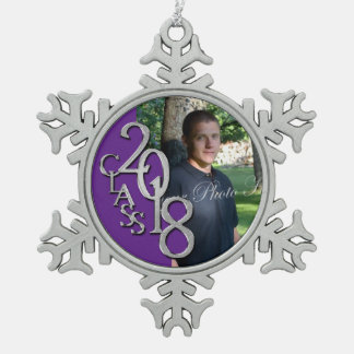 2018 Purple silver Graduation Photo Keepsake Snowflake Pewter Christmas Ornament