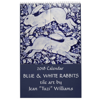 2018 Rabbit Calendar Blue & White Ceramics & Tile