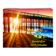 2018 Sunset Pier Wall Calendar