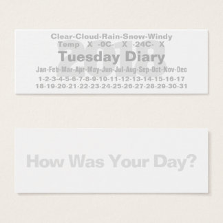 2018 Tuesday Diary Card Celsius