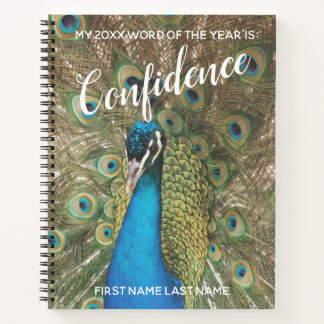 2018 Word of the Year Confidence Peacock Photo Notebook