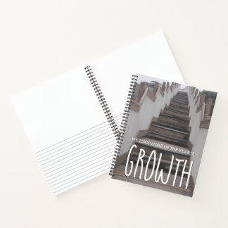 2018 Word of the Year Growth w/ Beach Stairs Photo Notebook