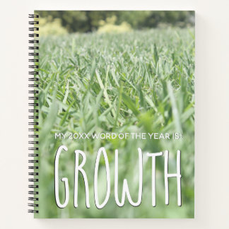 2018 Word of the Year Growth w/ Green Grass Photo Notebook