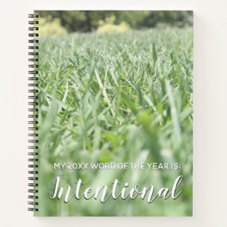 2018 Word of the Year Intentional w/ Green Grass Notebook