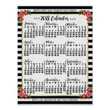 Professional Business 2018 Year Calendar Floral Stripes   Custom Text Poster
