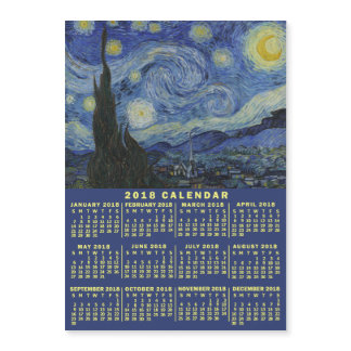 2018 Year Calendar Starry Night or Add Your Photo