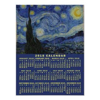 2018 Year Calendar Starry Night or Add Your Photo Poster