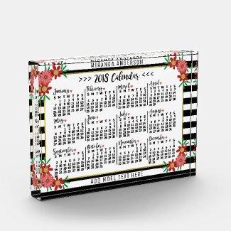 2018 Year Calendar Trendy Floral Stripes | Custom Block