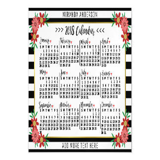 2018 Year Calendar Trendy Floral Stripes | Custom Magnetic Card