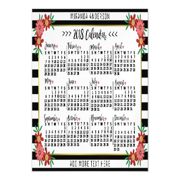 Professional Business 2018 Year Calendar Trendy Floral Stripes | Custom Magnetic Card