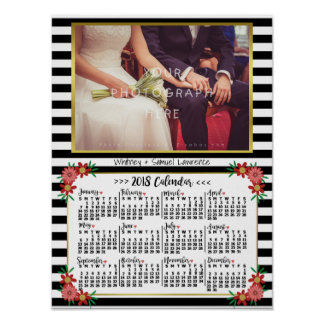 2018 Year Calendar Trendy Floral Stripes | Photo Poster
