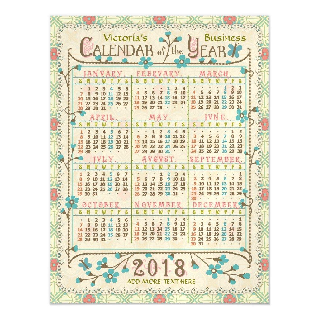 2018 Year Calendar Victorian Art Nouveau | Custom Magnetic Card