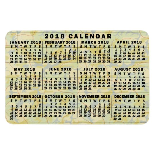 2018 year monthly calendar antique map large print magnet