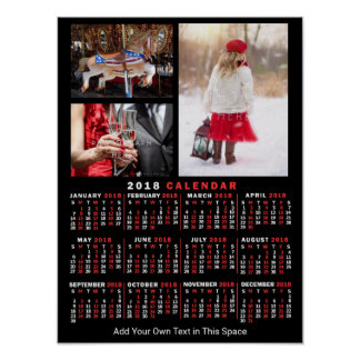 2018 Year Monthly Calendar Black Custom 3 Photos Poster