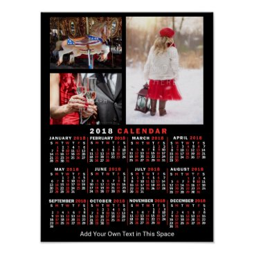 Professional Business 2018 Year Monthly Calendar Black Custom 3 Photos Poster